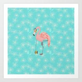 Walkman Flamingo with Hibiscus Art Print