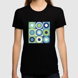 Retro circles check blue, teal, neon green T-shirt