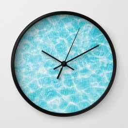 Blue mosaic swimming pool Wall Clock