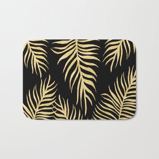 Fern Pattern Gold On Black Background Bath Mat