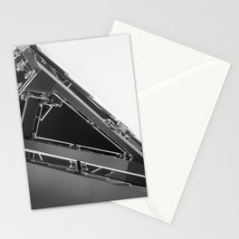 Triangle Space Ship Architecture Stairs BW Stationery Cards