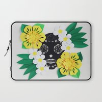 calavera Laptop Sleeves featuring Calavera 2 by Marine Coutroutsios