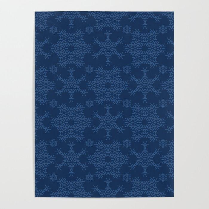 Winter Snow Texture  Drawn Starry Snowflake Poster