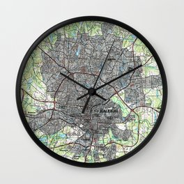 Raleigh North Carolina Map (1990) Wall Clock