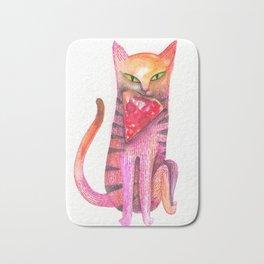 pet cat with precious prey Bath Mat