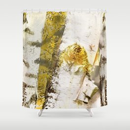 Rustic Gold Knot Close-Up Birch Shower Curtain