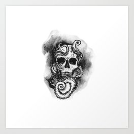 Skull and Octopus Together Forever by annmariescreations Art Print