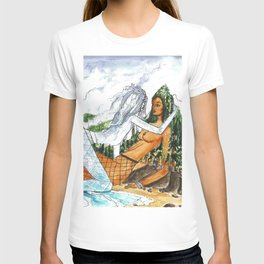 PNW Fishnets - Earth and Sky Goddess Kiss Painting T-shirt