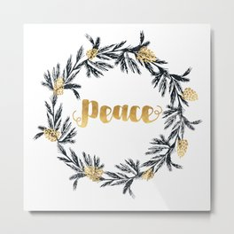 Christmas Wreath Peace Metal Print