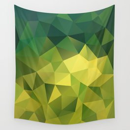 Abstract of triangles polygon in green yellow lime colors Wall Tapestry