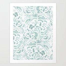 Dye Curves Blue Surf Art Print