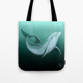 """""""Riversoul"""" by Amber Marine ~ Indian River Lagoon bottlenose dolphin art, (Copyright 2014) Tote Bag"""