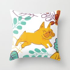 Happy Fall, Dogs! (Frenchie) Throw Pillow