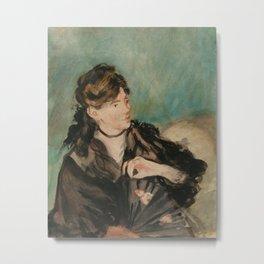 "Édouard Manet ""Portrait of Berthe Morisot with a Fan"" Metal Print"