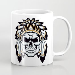 skull indian chief with feather hat Coffee Mug