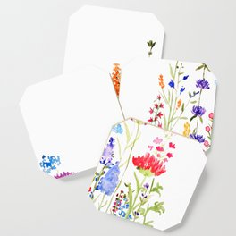colorful wild flowers watercolor painting Coaster