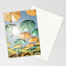 Umbrellas - Soller town in  Mallorca - travel photography Stationery Cards