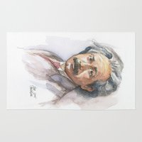 physics Area & Throw Rugs featuring Albert Einstein Watercolor Portrait by Olechka
