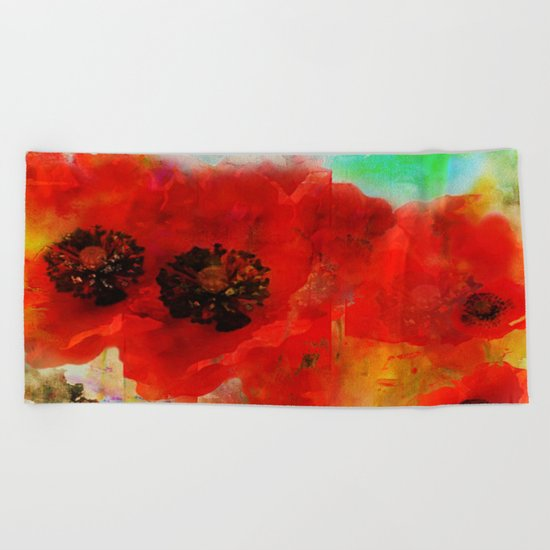 Champ de coquelicots Beach Towel