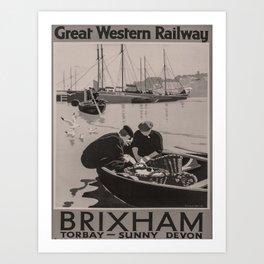 retro dark Brixham old psoter Art Print