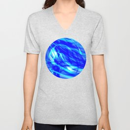 Vector glowing water background made of blue sea lines. Unisex V-Neck