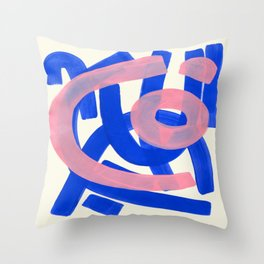 Tribal Pink Blue Fun Colorful Mid Century Modern Abstract Painting Shapes Pattern Throw Pillow