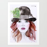 emma stone Art Prints featuring Emma Stone by Vicky Ink.