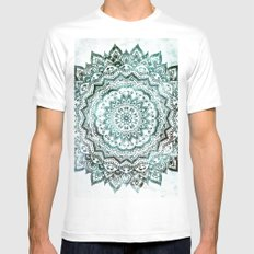 Emerald Jewel Mandala MEDIUM Mens Fitted Tee White