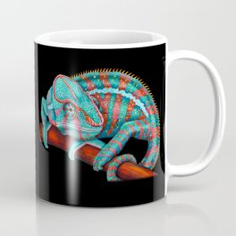 Panther Chameleon Turquoise Blue & Coral Red Coffee Mug