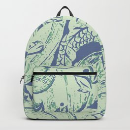 Carp in blue and soft green Backpack