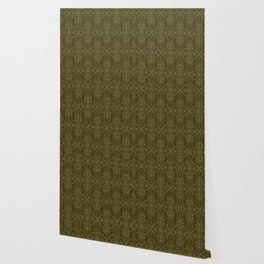 Floral leaf motif running stitch style. Wallpaper