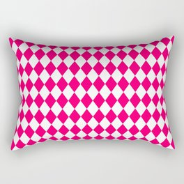 Hot Neon Pink and White Harlequin Diamond Check Rectangular Pillow