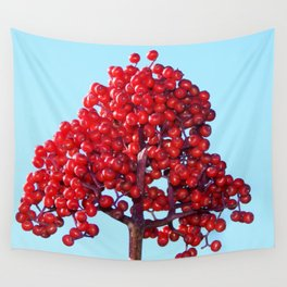 Rowan Berry Branch Top is Red on  Blue Nature Wall Tapestry