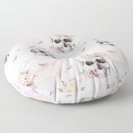 Floral Skull Pattern Floor Pillow