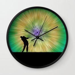 Green Tie Dye Golfer Silhouette Wall Clock