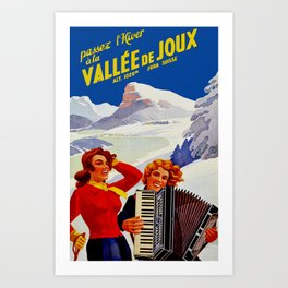Vintage Vallee de Joux Switzerland Travel Art Print