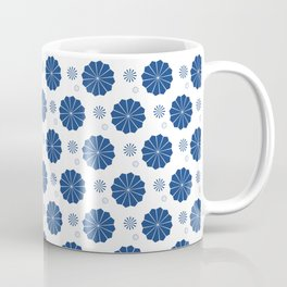 Dark Blue Floral Pattern Coffee Mug