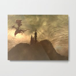 Flying above the castle from right Metal Print