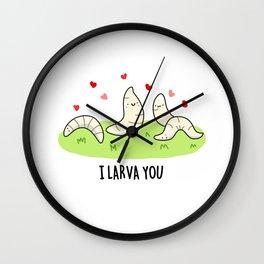 I Larva You Cute Biology Pun Wall Clock