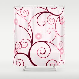 Cranberry Red Swirls and Circles Shower Curtain