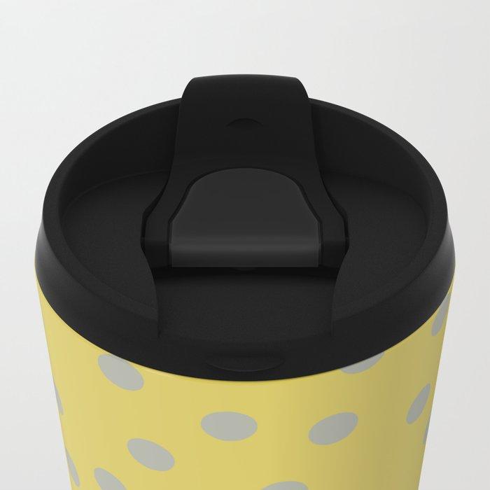 Simply Dots Retro Gray on Mod Yellow Metal Travel Mug