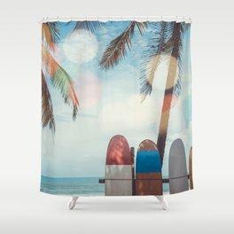 Surf Life Tropical Coastal Landscape Surfboard Scene Shower Curtain