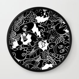 Black and White Graffiti pattern Wall Clock