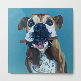 My Happy Abby Boxer Girl Portrait Metal Print