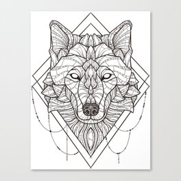 Geometric Wolf Canvas Print