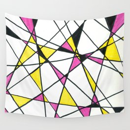 Geometric Neon Triangles - Pink, Yellow & Black Wall Tapestry