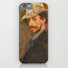 Self-portrait with flowered hat - James Sidney Edouard Baron Ensor iPhone Case