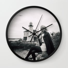 Lost Love at the Coquille River Lighthouse - Holga black and white film photograph Wall Clock