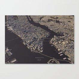 Manhatten city map II Canvas Print