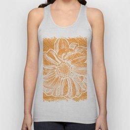 White Flower On Warm Orange Crayon Unisex Tank Top